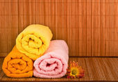 Spa style Towel with Bamboo — Stock Photo