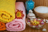 Spa style Towel with flower — Stock Photo