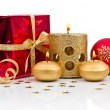 Christmas decoration with golden candles — Stock Photo