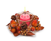 Candle in a Christmas candlestick — Stock Photo
