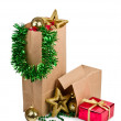 Christmas decoration with balls and gift — Stockfoto #7652247