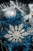 Christmas Decoration and and silver snowflake — Stock Photo