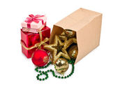 Christmas decoration with balls and gift — Stok fotoğraf