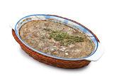 Pate in a ceramic dish — Stock Photo