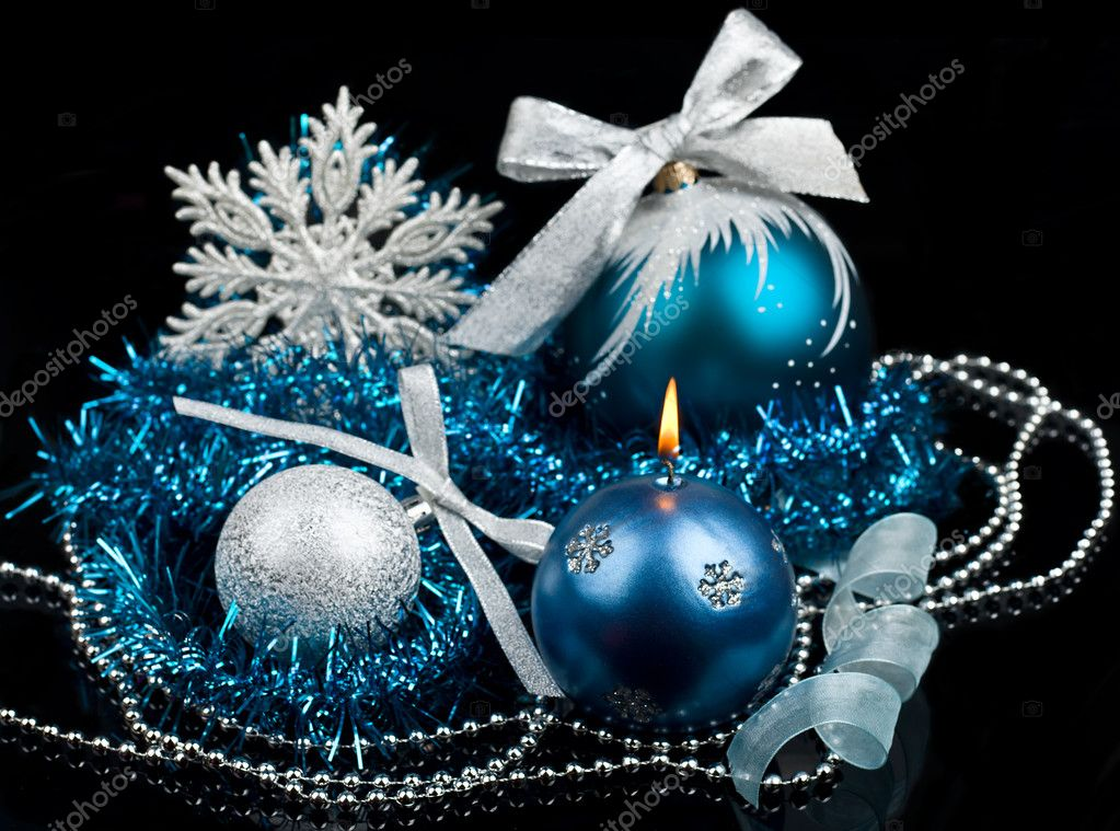 Christmas decoration and burning candle stock photo am for 7 candle christmas decoration