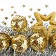 Christmas composition with balls and stars — Stock Photo