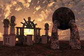 Rovine del tempio di fantasia — Foto Stock
