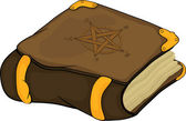 The magic book with symbols pentagram . Cartoon — Stock Vector