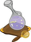 Magiska kolven och förstoringsglas. cartoon — Stockvektor
