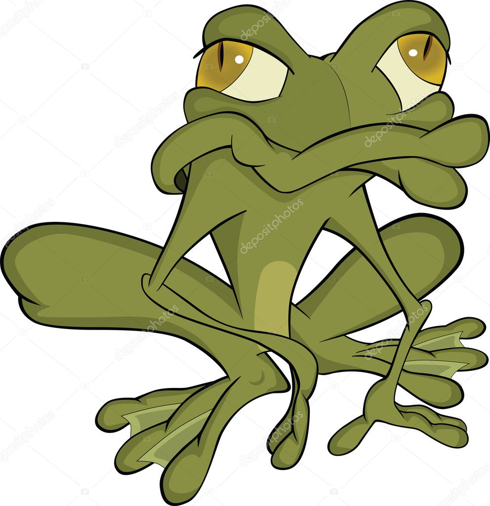 The green toad Cartoon amphibian animal — Stock Vector #6987199