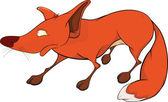 Red fox . Cartoon — Vettoriale Stock