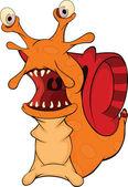 Malicious snail. The monster. Cartoon — Stock Vector