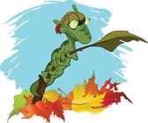 Petite chenille verte sur une branche. automne. dessin animé — Vecteur