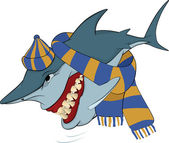 Tiburón alegre con un gorro y una bufanda. dibujos animados — Vector de stock