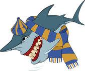Alegre tubarão com um boné e um cachecol. desenhos animados — Vetorial Stock
