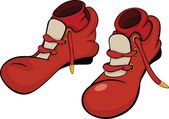 Boots for the clown with red socks. Cartoon — Stock Vector