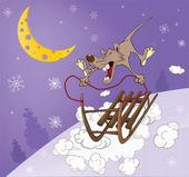 Rat and sled. Cartoon — Stock Vector
