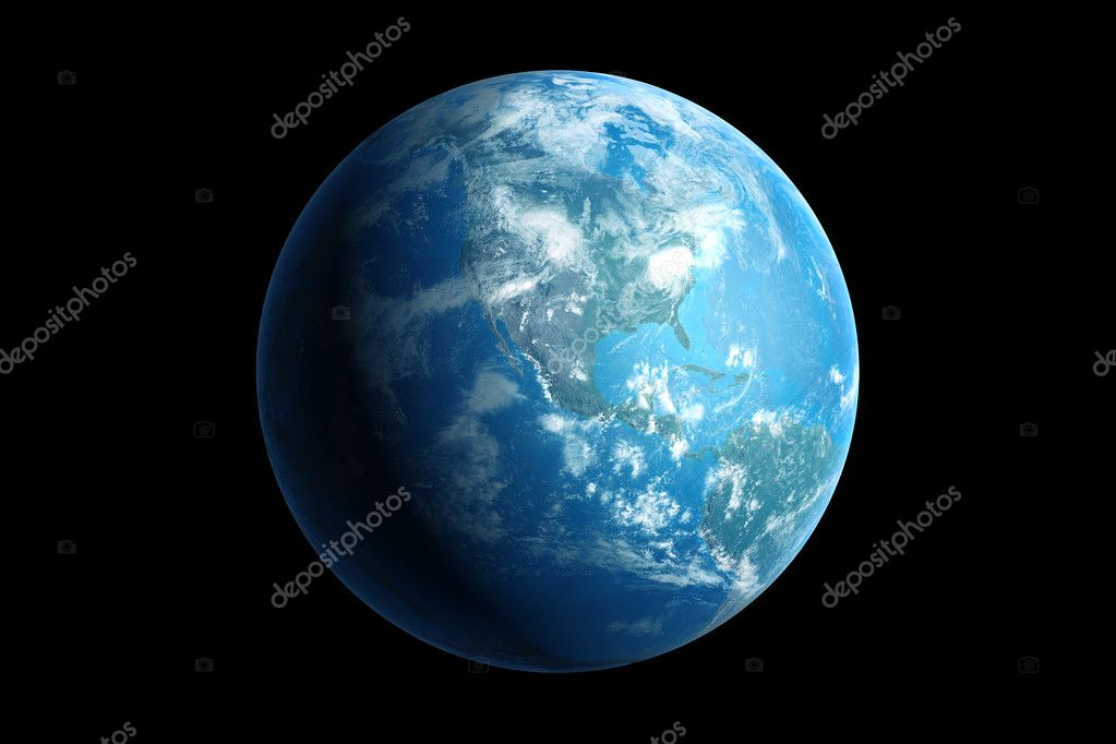 3d generated blue earth, northern america — Stock Photo #7655456