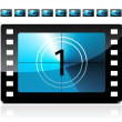 Stock Vector: Film countdown from 1 to 9