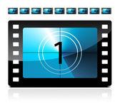 Film odpočítávání od 1 do 9 — Stock vektor
