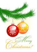Christmas tree and balls — Stock Vector