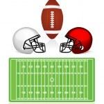 American football field, ball and helmet — Stock Vector #7461740