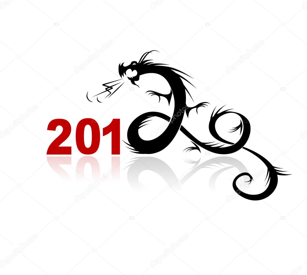 2012 year of dragon, illustration for your design — Stok Vektör #6984964
