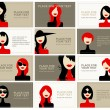 Business cards with woman faces for your design — Stock Vector