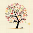 Autumn tree, sketch drawing for your design - Stock Vector