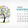Vector calendar 2012, august. Art tree design — Stock Vector