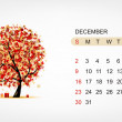 Vector calendar 2012, december. Art tree design — Stock Vector