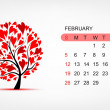 Vector calendar 2012, february. Art tree design — Stock Vector