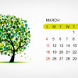 Vector calendar 2012, march. Art tree design - Vettoriali Stock