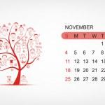 Vector calendar 2012, november. Art tree design — Stock Vector #7328000