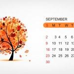 Vector calendar 2012,september. Art tree design — Stock Vector #7328013