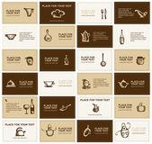 Visitekaartjes met keukengerei voor uw ontwerp — Stockvector