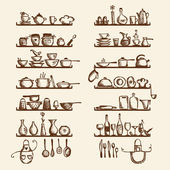 Kitchen utensils on shelves, sketch drawing for your design — Vecteur
