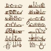 Ustensiles de cuisine sur les étagères, croquis, dessin pour votre conception — Vecteur