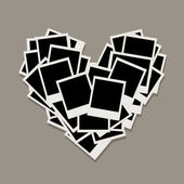 Heart shape made from photo frames, insert your photos — Cтоковый вектор