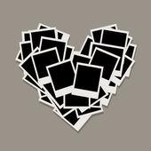 Tvaru srdce vyrobený z fotorámečky, vložte vaše fotografie — Stock vektor