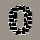 Number zero made from photo frames, insert your photos — 图库矢量图片