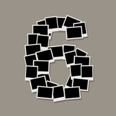 Number six made from photo frames, insert your photos — Stock Vector