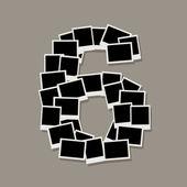 Nummer zes gemaakt van frames van de foto, uw foto's invoegen — Stockvector