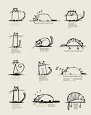 Funny cats sketch, design with place for your text — Stockvektor