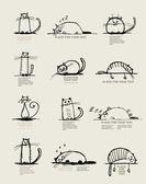 Lustige katzen skizzieren, entwerfen mit platz für ihren text — Stockvektor
