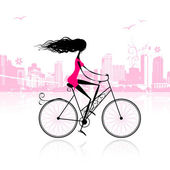 Girl cycling in the city — Stock Vector