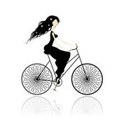 Girl in black dress cycling — Stock Vector