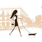 Woman walking with dog on the street — Stock Vector
