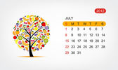 Vector calendar 2012, july. Art tree design — Stock Vector