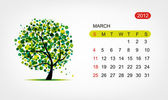 Vector calendar 2012, march. Art tree design — Stock Vector